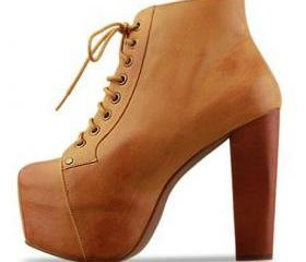 Chic Lace Up Brown C..