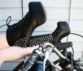 Studded Lace Up Blac..