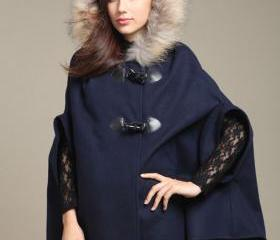 Navy Blue Faux Fur C..