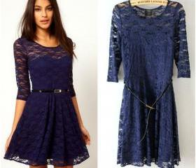 Chic Navy Blue Lace ..