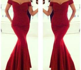 Red Chiffon Off-The-..