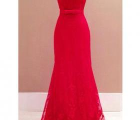 Open Back Red Lace D..