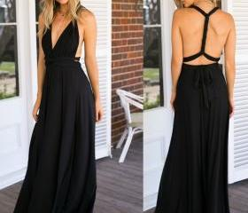 Black V Neck Long Go..
