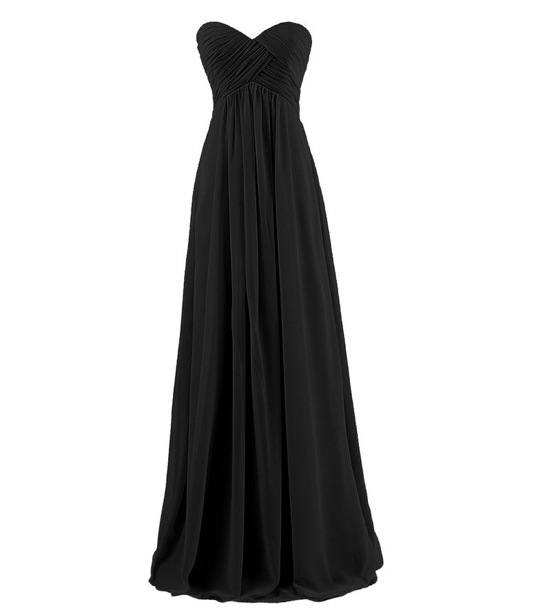 Off Shoulder Strapless Goddess Chiffon Long Dress in Black and Red