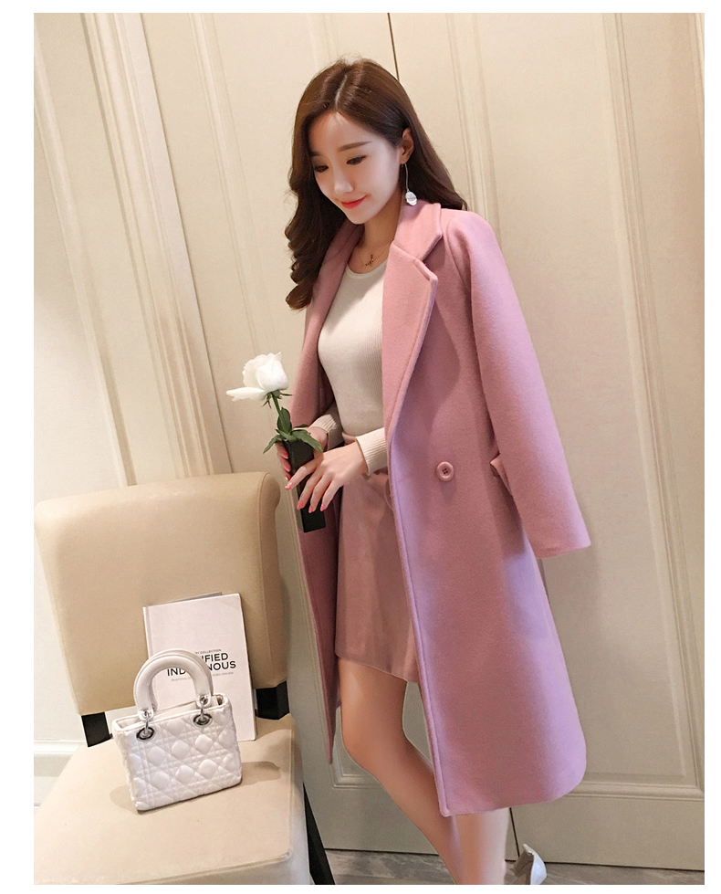 Beautiful Pink Autumn and Winter Trench Coat