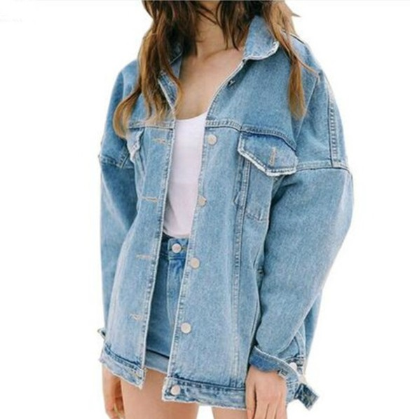 Oversized Denim Jacket in True Blue