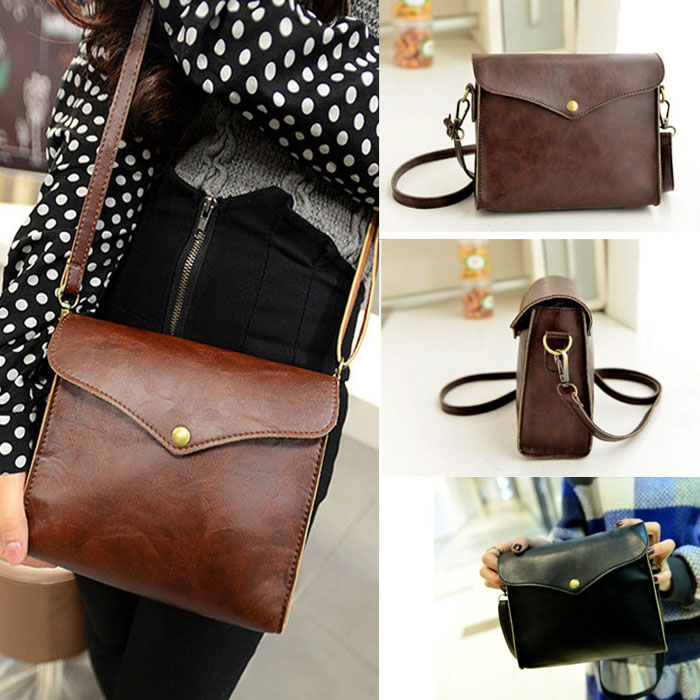 Classy PU Leather Shoulder Bag in Black and Brown