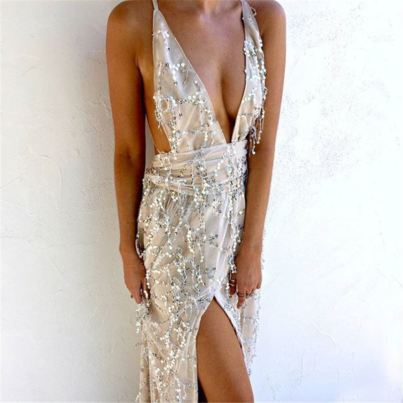Gorgeous Sequined Long Dresses in Beige and Black