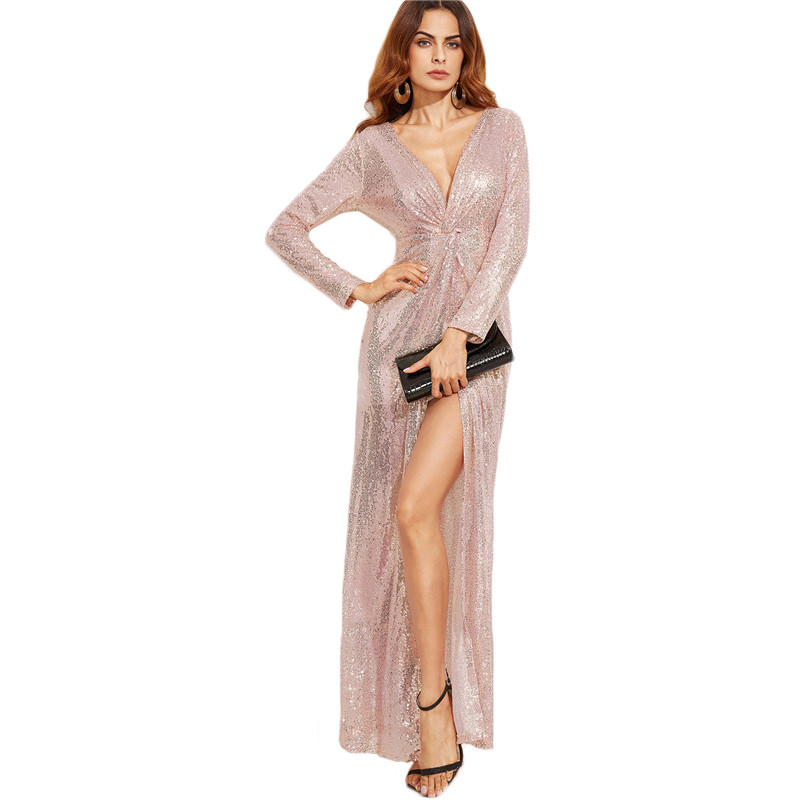 Gold V Neck Sequins Long Sleeve Maxi Dress