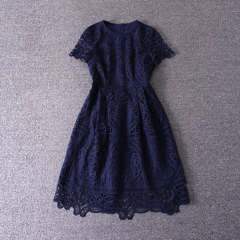 Blue Short Sleeve Lace Party Dress