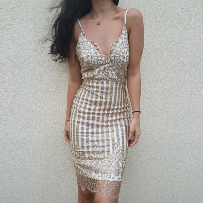 Gorgeous Sleeveless Sequined Knee Length Party Dress