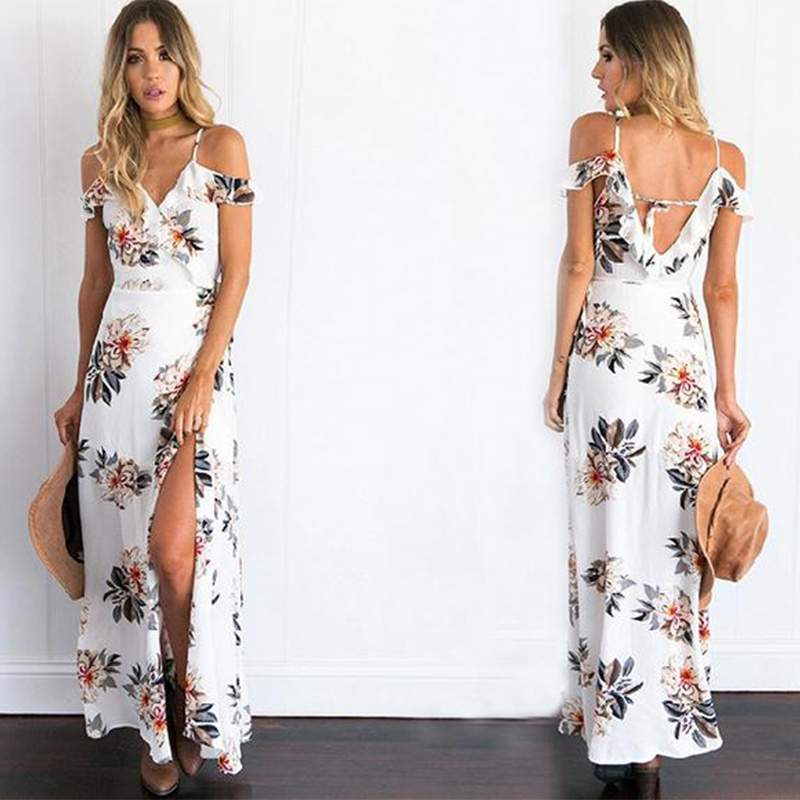 389c7eee59 Sexy Strap Chiffon Floral Print Summer Maxi Dress on Luulla