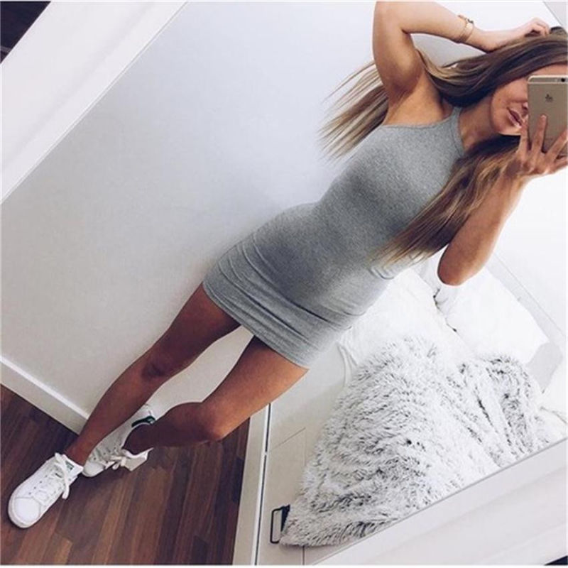 Casual Body con Mini Dress in Black and Grey