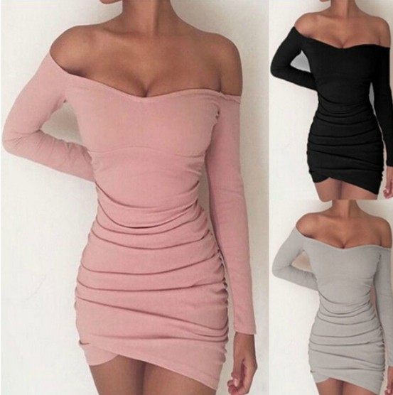 Off Shoulder Bodycon Long Sleeve Dresses