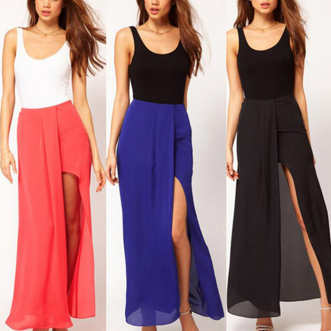 6b71ff0c732243 Sexy Chiffon Side Slit Maxi Skirt on Luulla