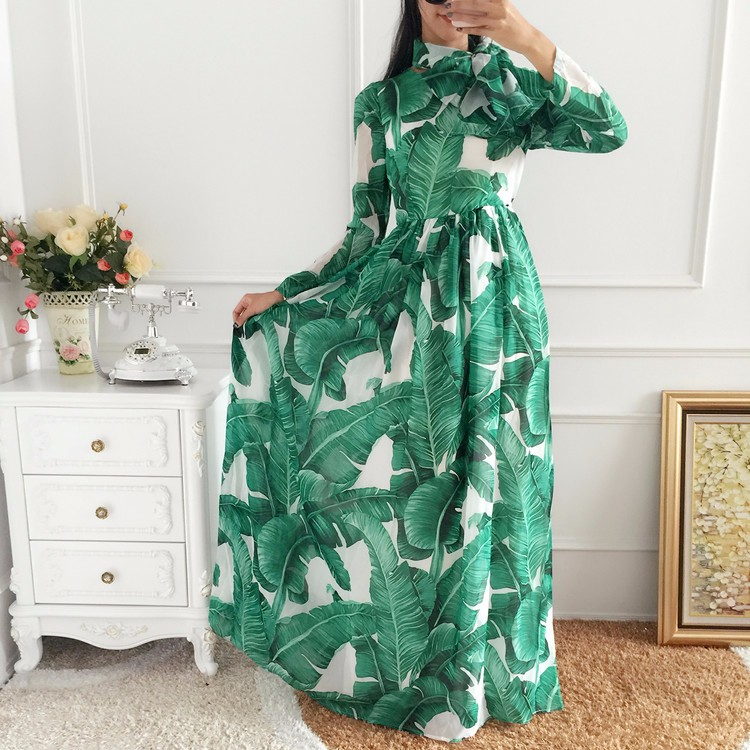 Long Sleeve Bohemian Printed Chiffon Dress