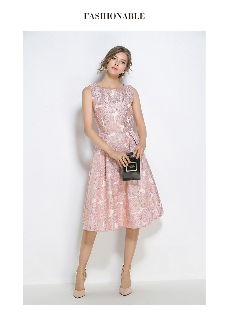 Luxurious Floral Embroidery Pink Sleeveless Party Dress