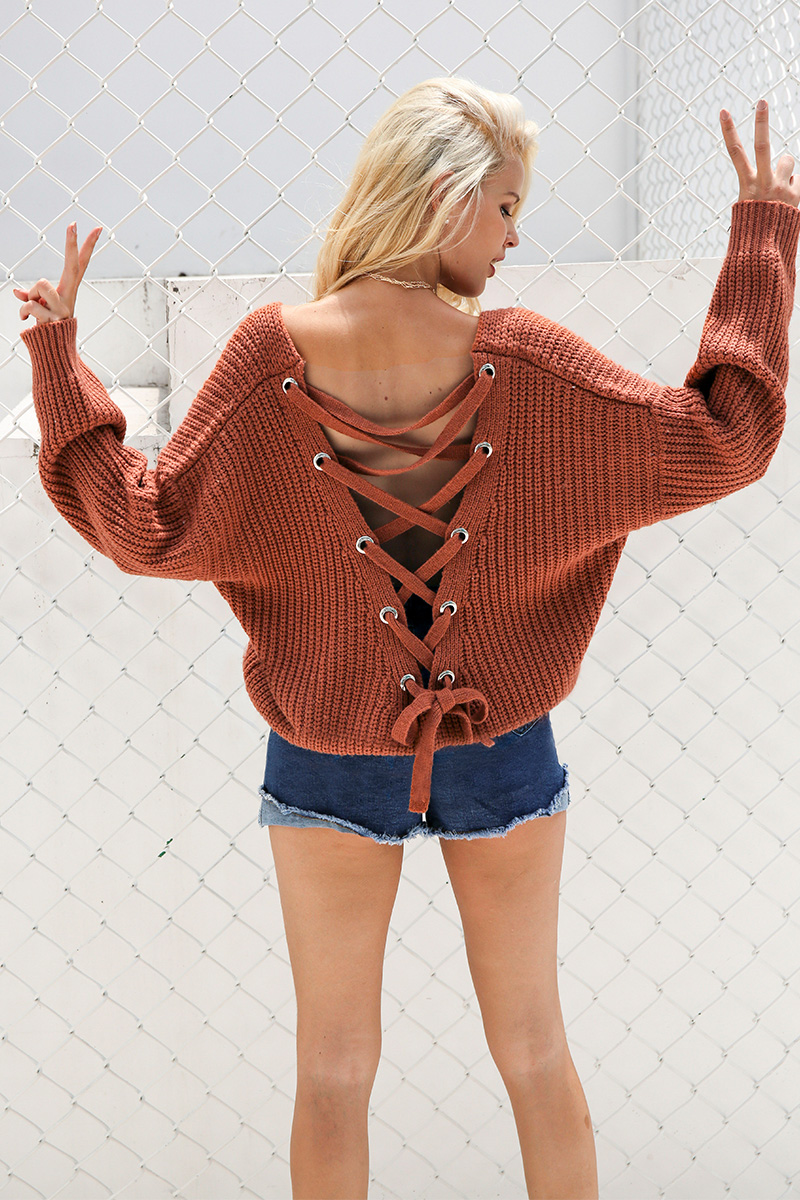 Sexy Back Lace up Knitted Pullover