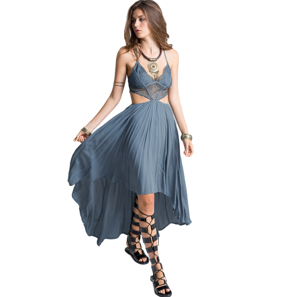 Cross Strap Deep V Neck Boho Lace Dress