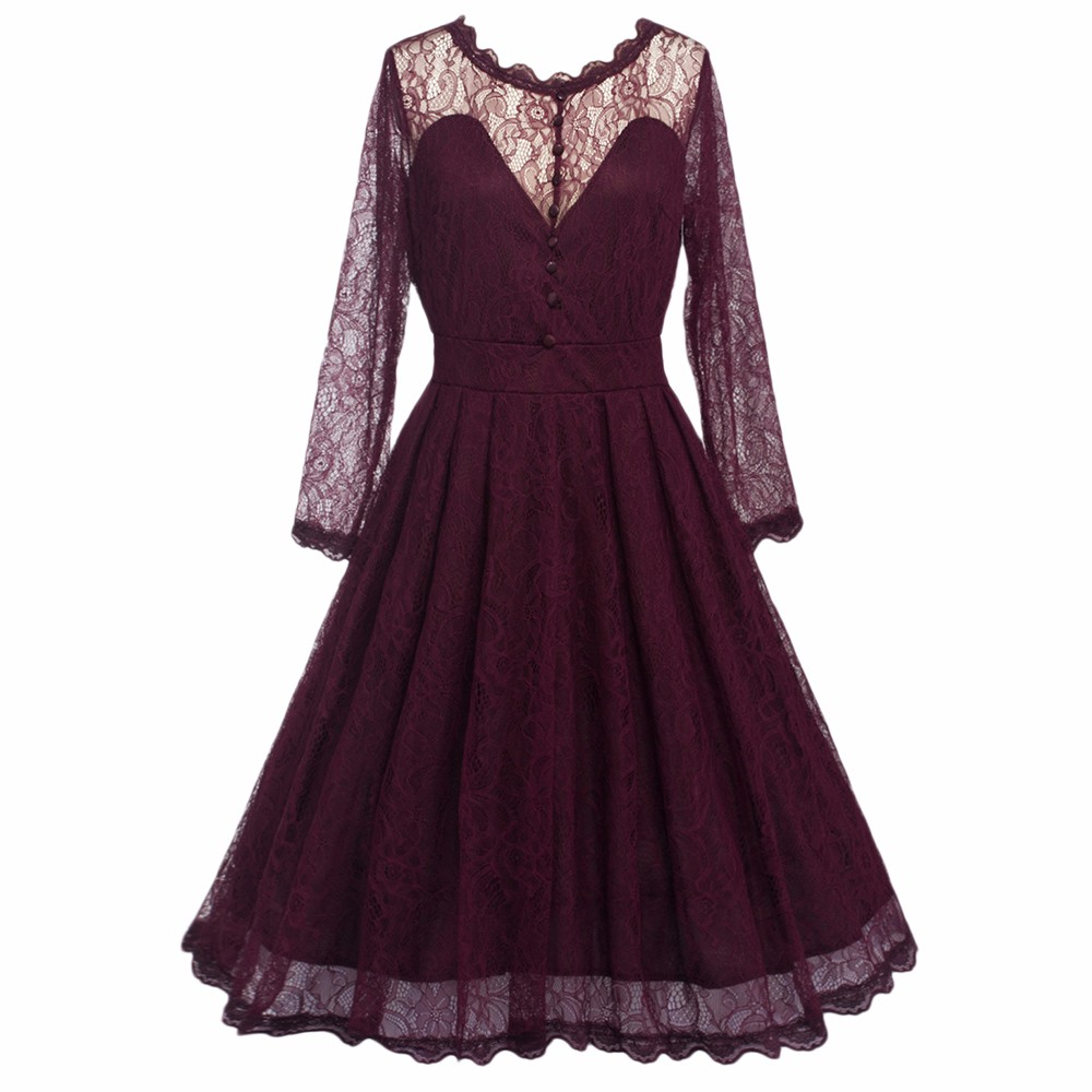 Elegant Lace Patchwork Ball Gown Long Sleeve Vintage Style Dress