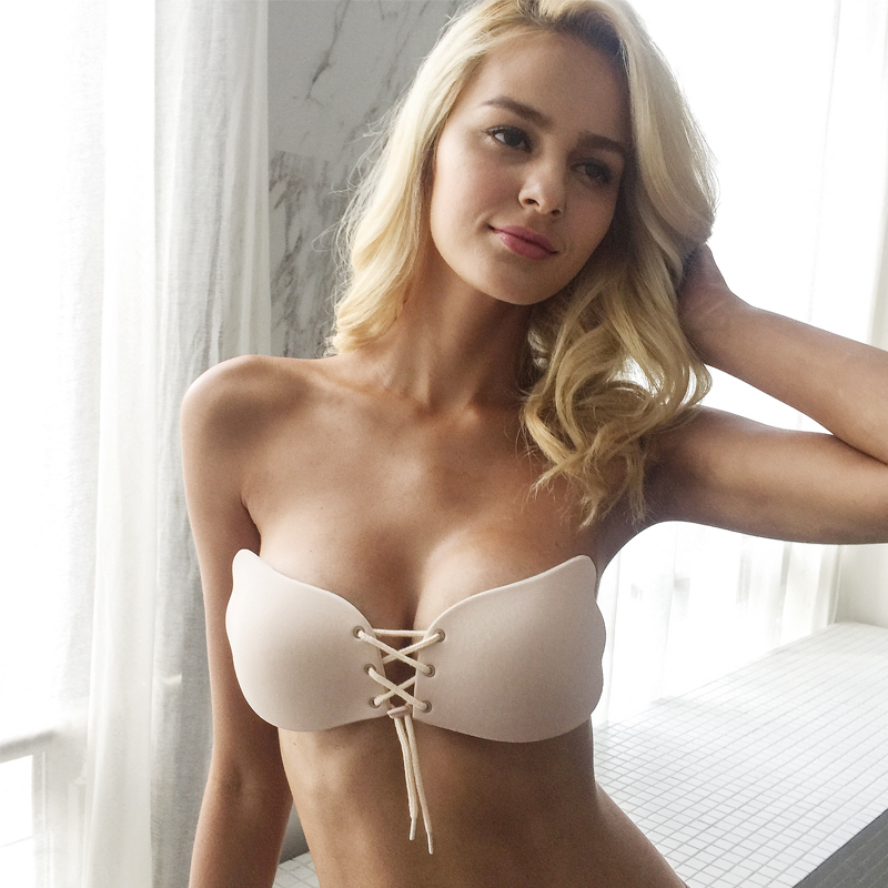 Nude Lace up Strapless Invisible Bra