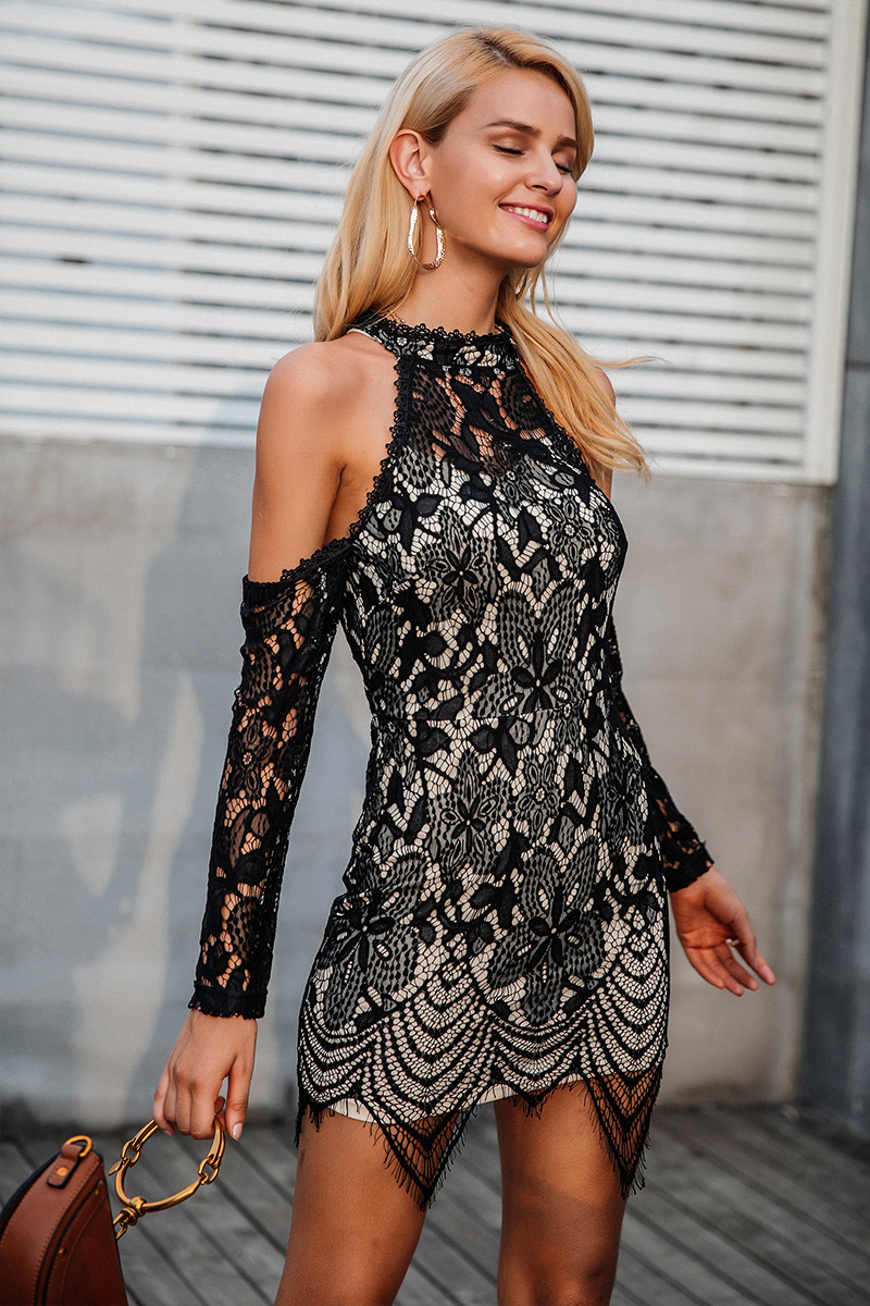 Sexy Halter Off Shoulder Long Sleeve Lace Dress