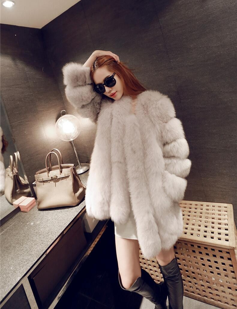 Gorgeous High Quality Faux Fur Winter Coat in White and Pink