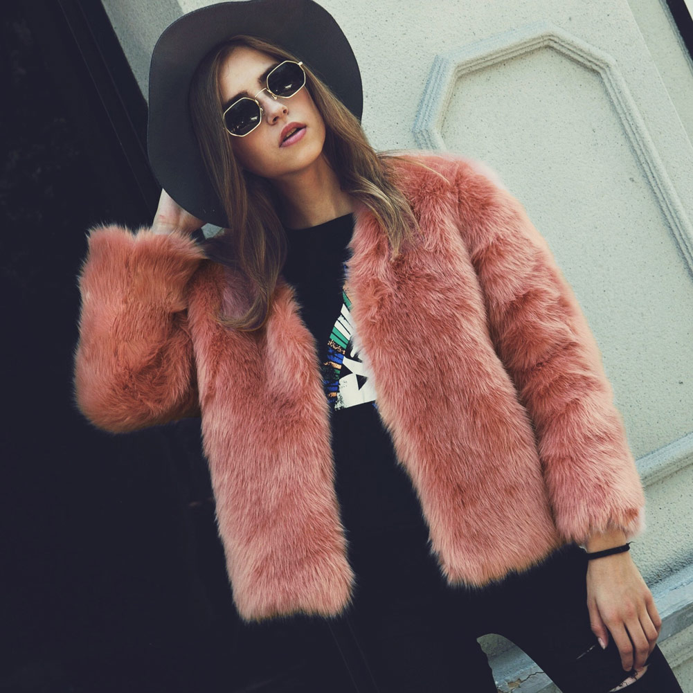 Faux Fur Collarless Neckline Coat