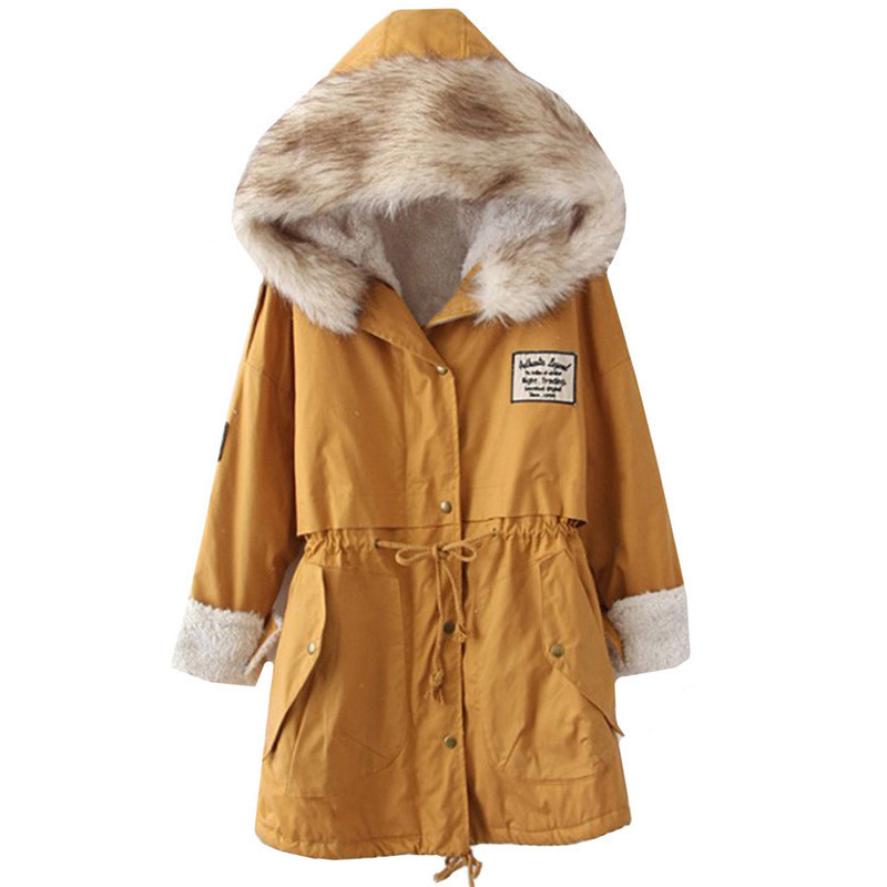 Autumn and Winter Hooded Parkas Coat with Faux Fur