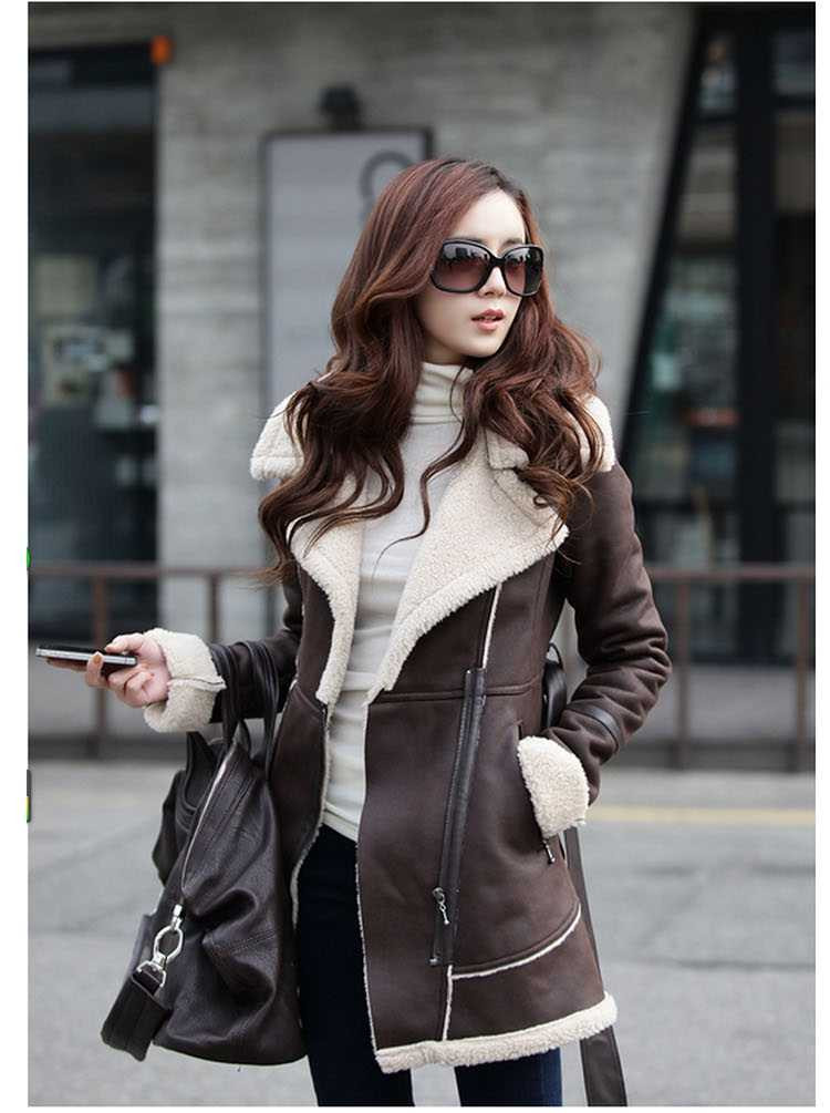Classy Fall Winter Belted Suede Leather Jacket Winter Coat in Brown