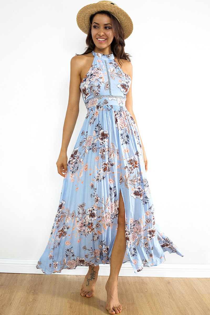 Beautiful Front Slit Summer Boho Maxi Dress