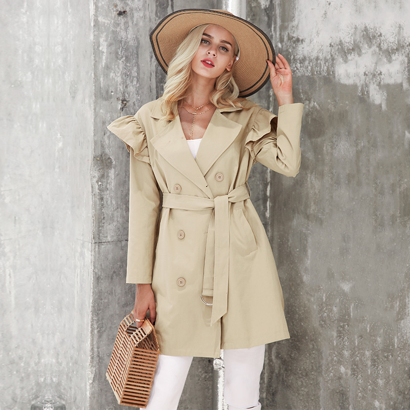 Collared Double-Breasted Belted Trench Coat with Ruffle Detailing