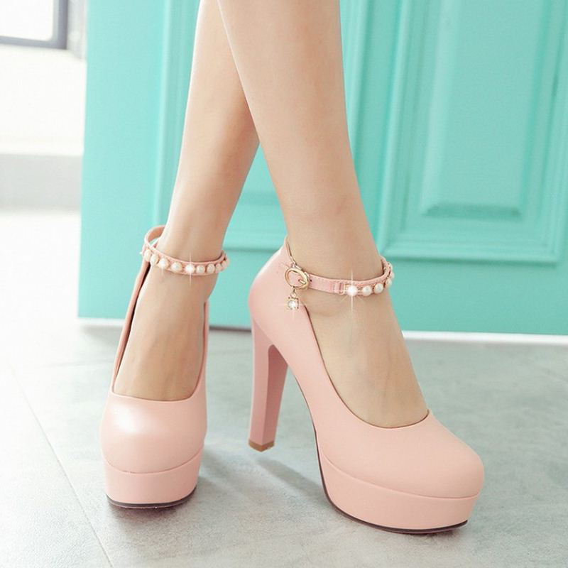 Gorgeous Pink pearl Beaded Ankle Strap High Heels Fashion Shoes