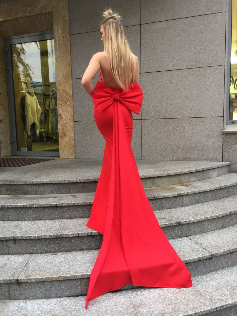 Sexy Off Shoulder Red Party Dress with Bow