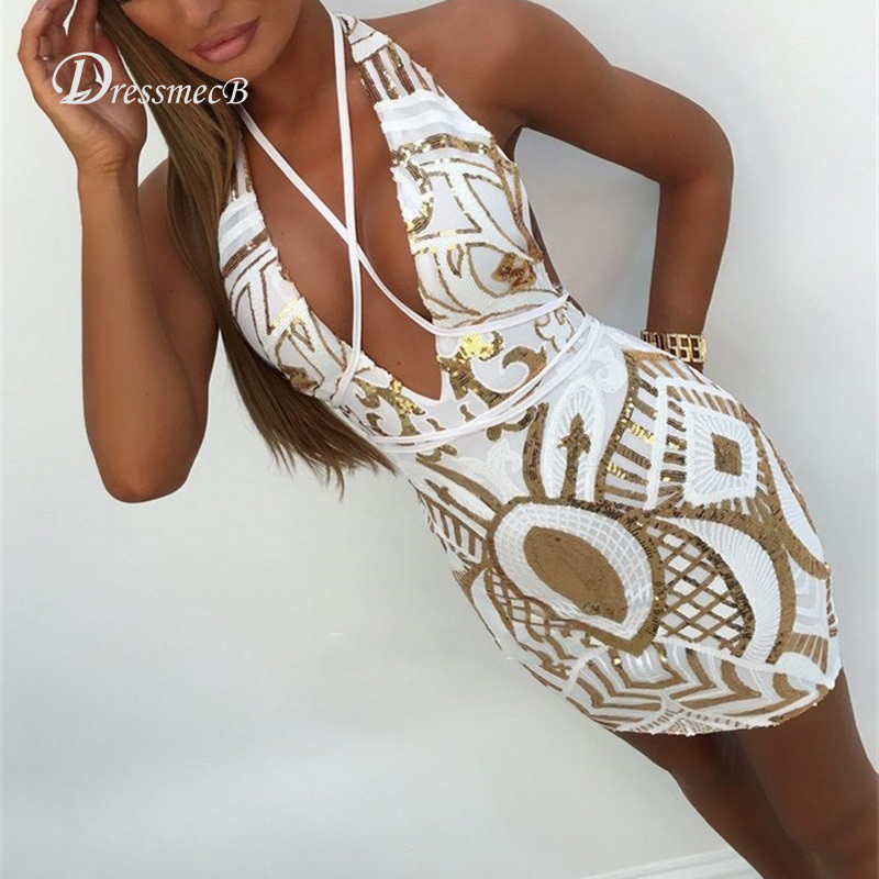 Bodycon Sequined V Neck Party Dress
