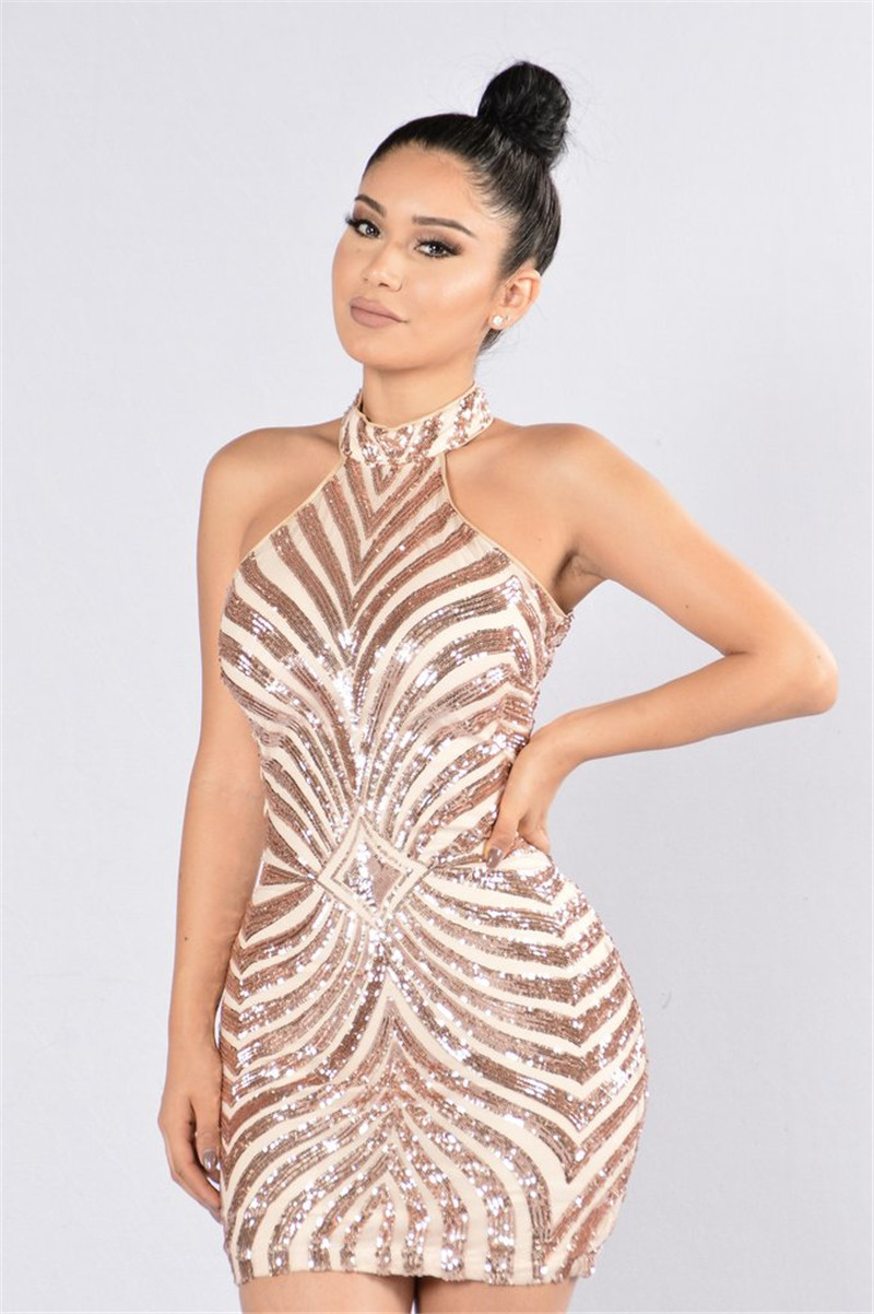 4ec8239c Sexy Gold Sequined Halter Short Party Dress on Luulla
