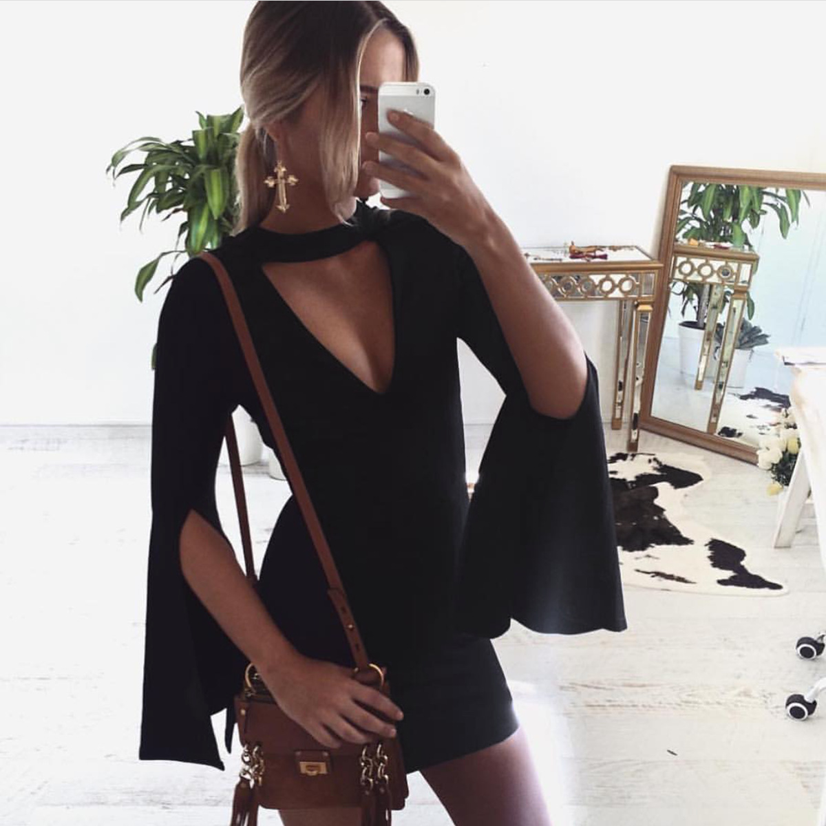 Flare Sleeve Black Mini Dress