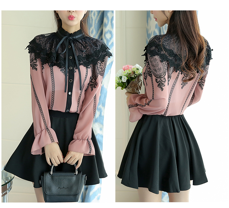 Gorgeous Lace and Chiffon Retro Style Long Sleeve Blouse