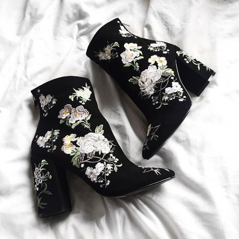 Floral Embroidered Black Suede Pointed Toe Ankle Boots