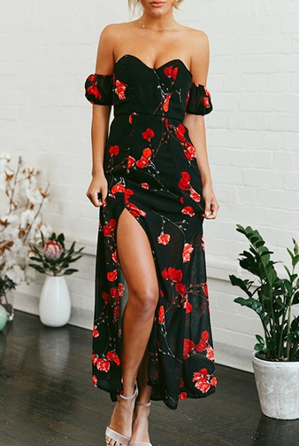 2ca45f5c825 Black Off Shoulder Sweetheart Neckline Floral Printed Maxi Dress with High  Split