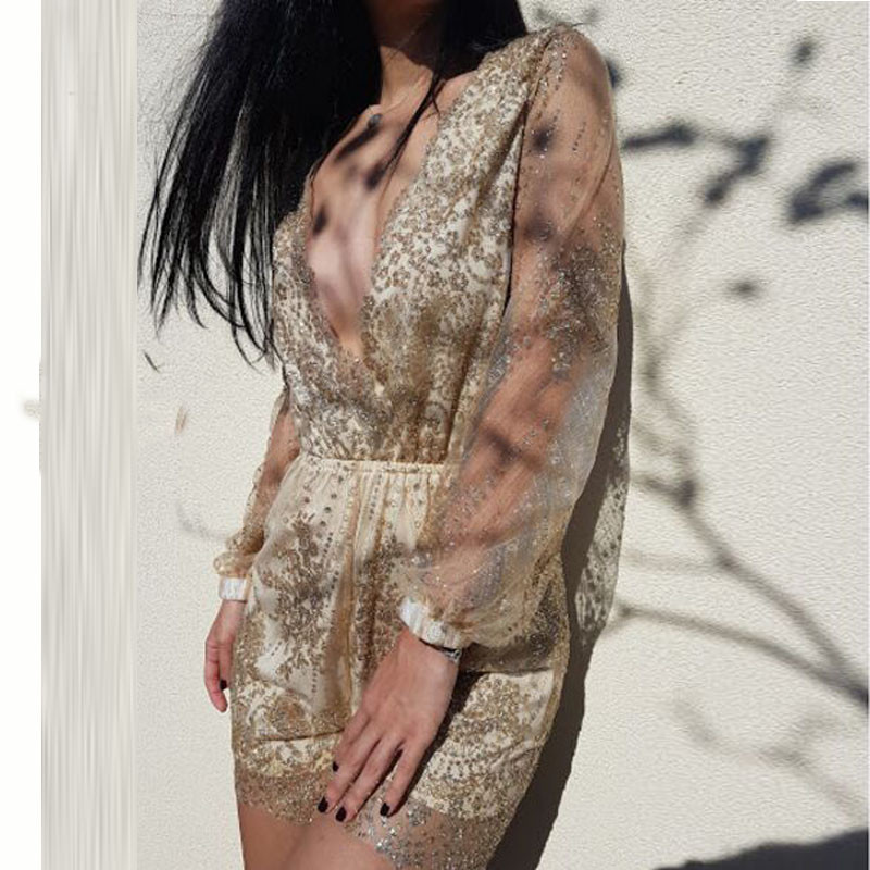 Sequined Gold Lace and Chiffon Sexy Romper