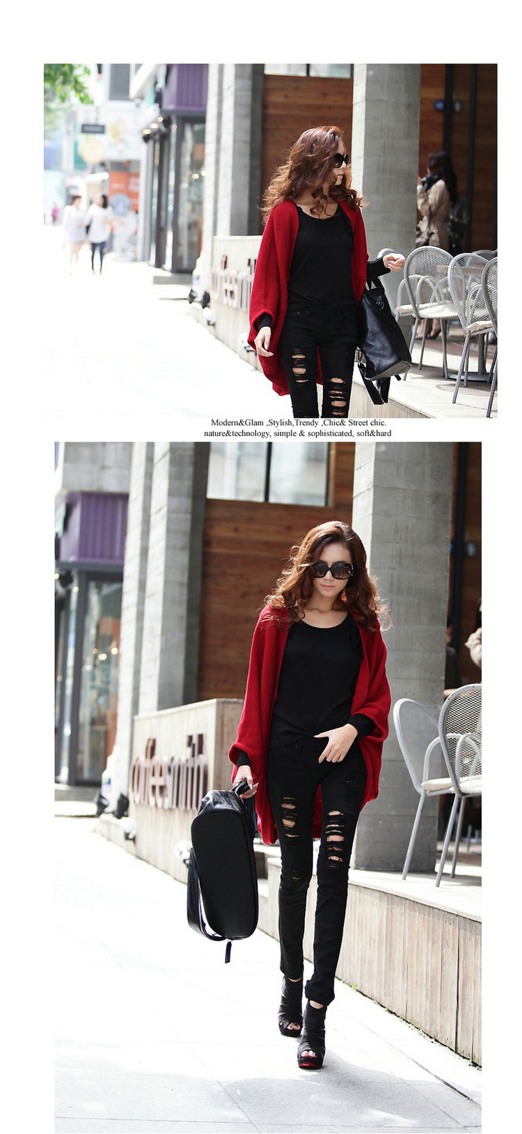 Stylish Loose Women's Cardigan Coat in Red and Black