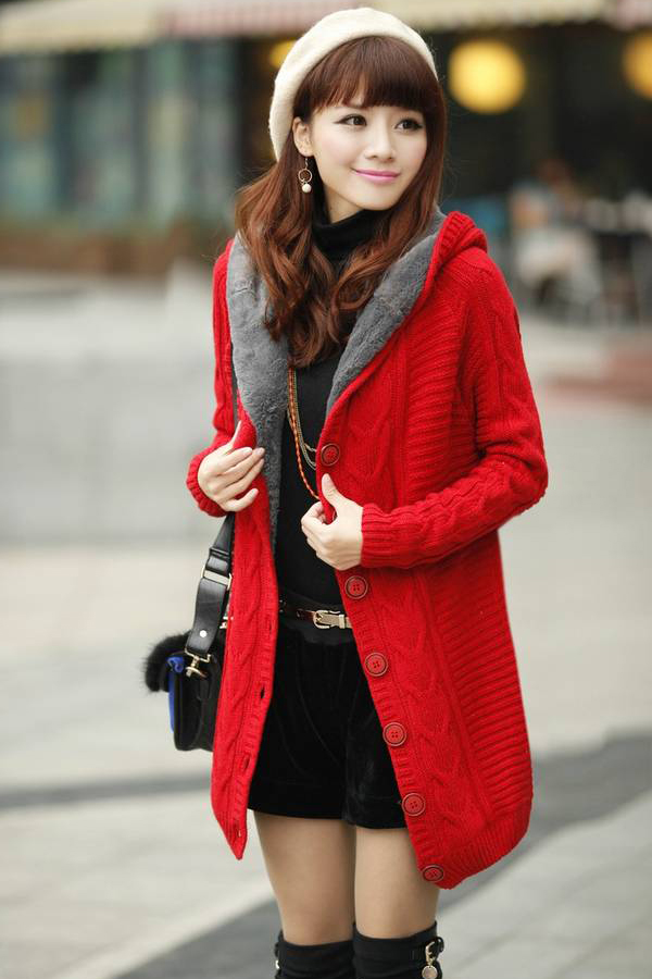 Long Sleeve Red Cotton Hooded Cardigan Sweater on Luulla