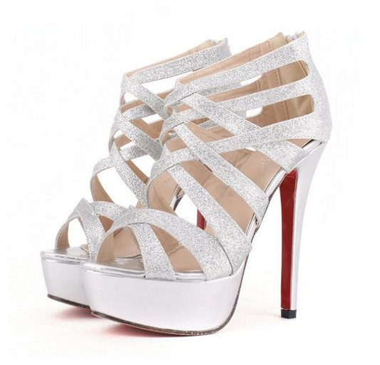 Metallic Silver Strappy High Heel Pumps on Luulla