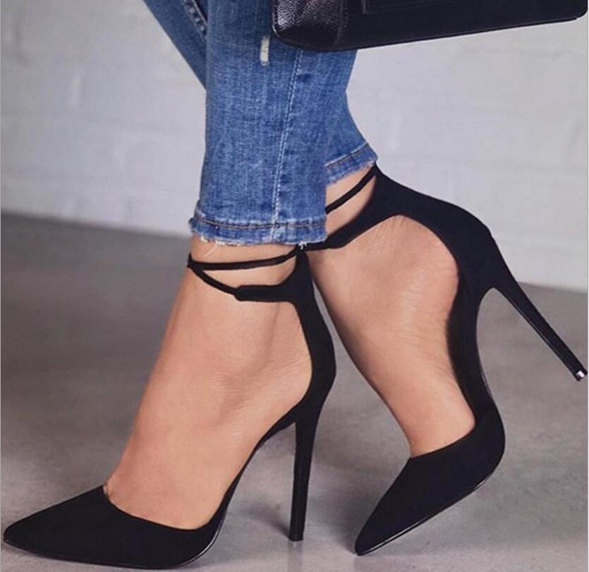Pointed Ankle Strap High Heels Shoes