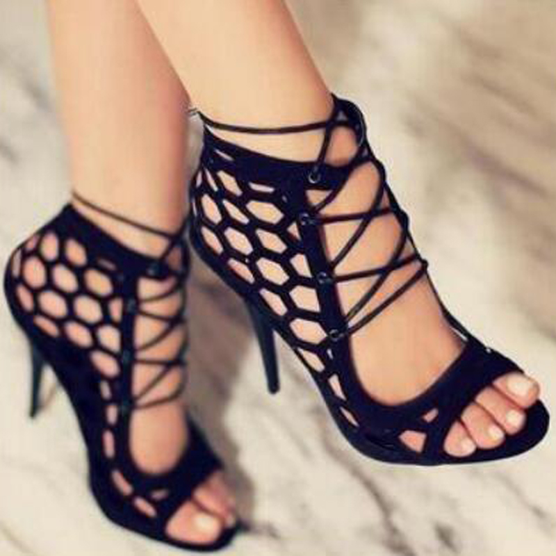 Black Summer High Heels Lace up Sandals
