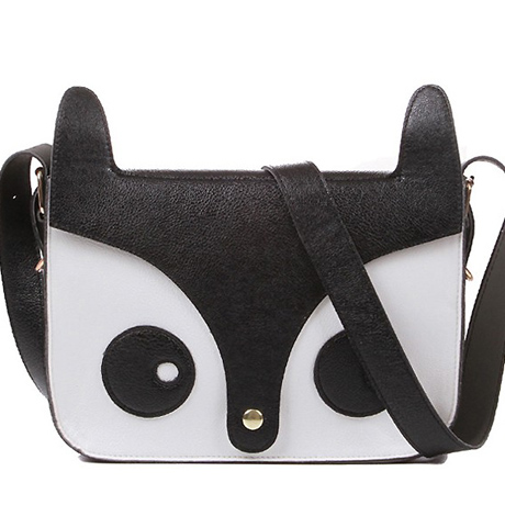 Cute Black and White Fox Design Shoulder Bag