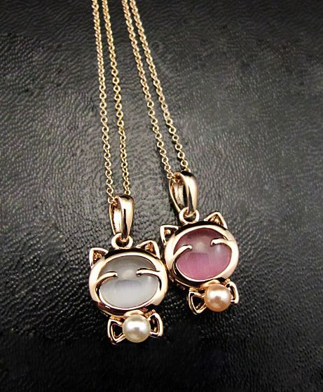 Cute Pink and White Kitty Necklace