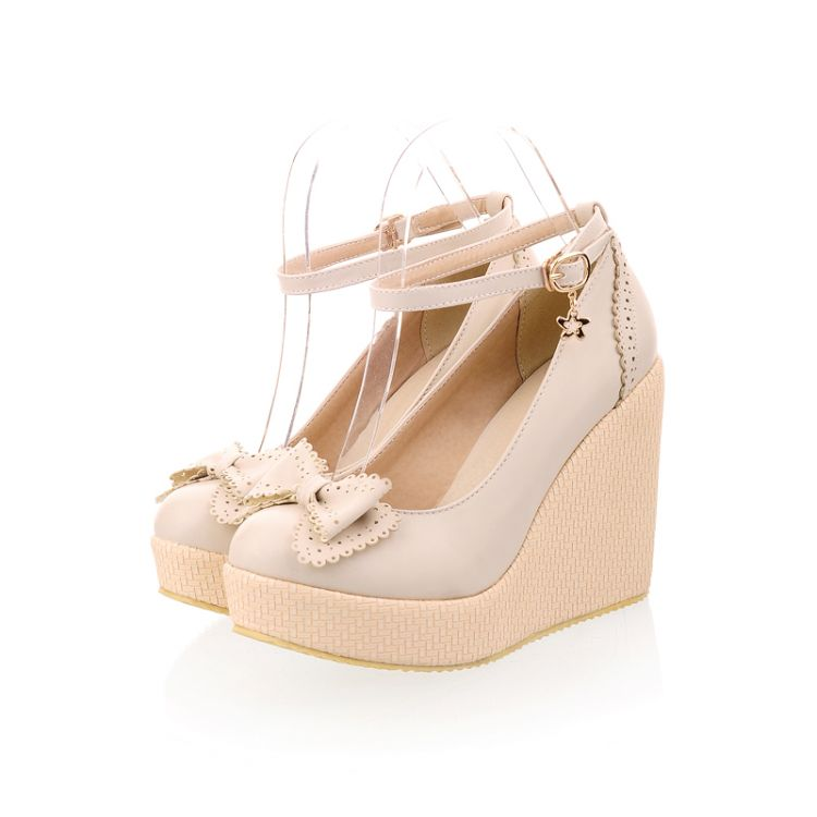Cute Beige Bow knot Design Wedge Shoes