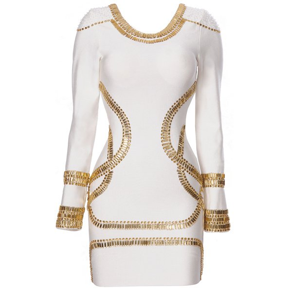 White and Gold Bandage Dress